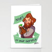 nori Stationery Cards featuring Nori at Your Service  by Hattie Hedgehog