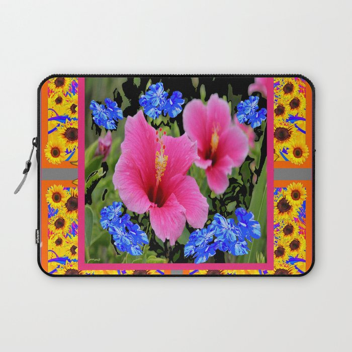 Grey Pink Tropical Hibiscus Blue Yellow Flowers Laptop Sleeve By