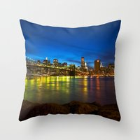 brooklyn bridge Throw Pillows featuring Brooklyn Bridge by Svetlana Sewell