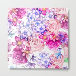Pink trendy modern watercolor floral pattern Metal Print