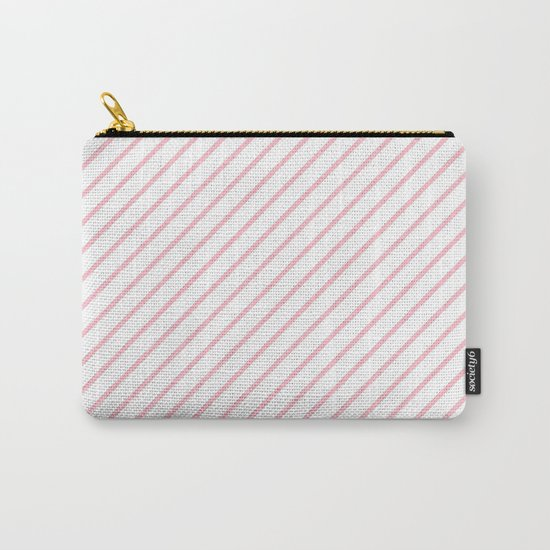 Diagonal Lines (Pink/White) Carry-All Pouch