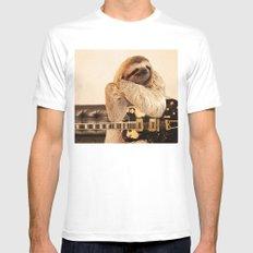 Rockstar Sloth Mens Fitted Tee MEDIUM White