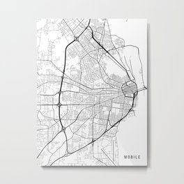 Mobile Map, Alabama USA - Black & White Portrait Metal Print