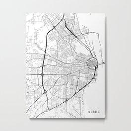 Mobile Map, Alabama USA - Black & White Portrait Metal Print