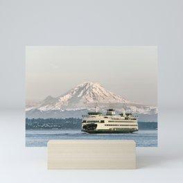Seattle Bainbridge Island Ferry with Mount Rainier Mini Art Print