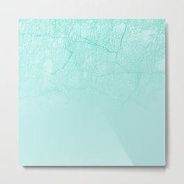 Modern teal white gradient blush chic marble Metal Print