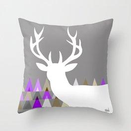 Deer Head Geometric Triangles   purple grey Throw Pillow