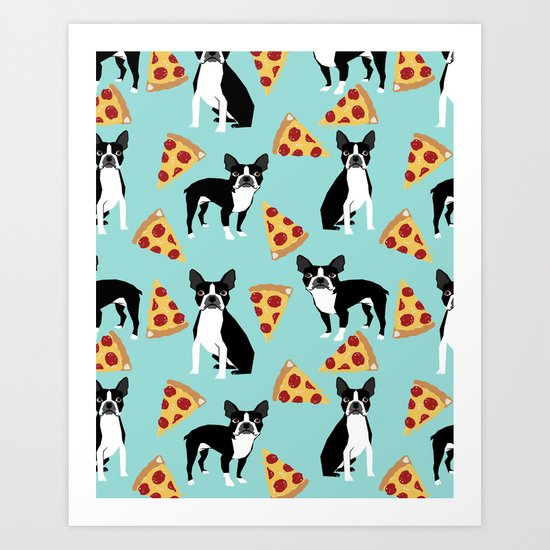 Boston Terrier pizza party cute pet portraits junk food pizza slices with boston terrier pattern  Art Print
