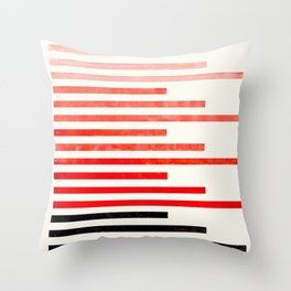 Red Orange Minimalist Abstract Mid Century Modern Staggered Thin Stripes Watercolor Painting Throw Pillow
