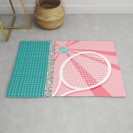 Boo Ya - tennis full court racquet palm springs resort sports vacation athlete pop art 1980s neon  Rug