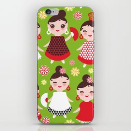 Seamless pattern spanish Woman flamenco dancer. Kawaii cute face with pink cheeks and winking eyes. iPhone Skin