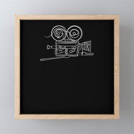 Film Camera Cameraman - One Line Drawing Framed Mini Art Print