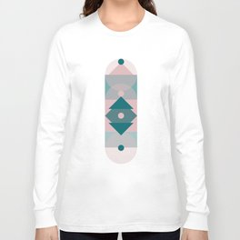 Nr. 2 Geometric Totem Pole Blush Pink and Green Long Sleeve T-shirt