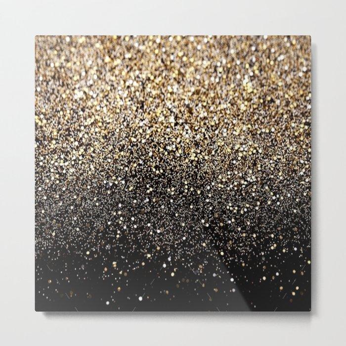 Black & Gold Sparkle Metal Print - metallic square metal wall art