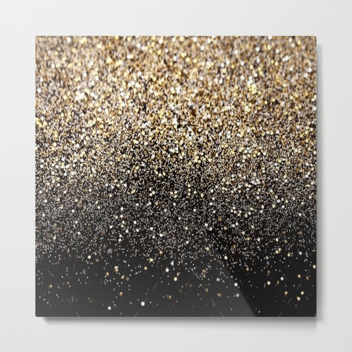 Black & Gold Sparkle - metallic square wall art