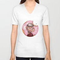 doughnut V-neck T-shirts featuring Freddy Doughnut by ajd.abelita