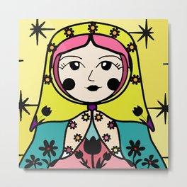 Matryoshka russian doll colorful illustration wall decor - Tatiana Metal Print