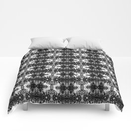Black and White Skulls Repeats Comforters