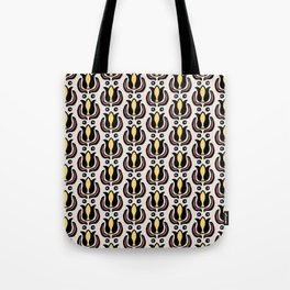 Tulip Pattern Yellow Brown and Turquois Tote Bag