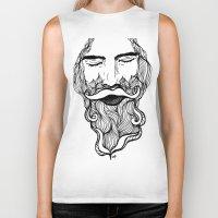 beard Biker Tanks featuring Beard  by Holly Harper