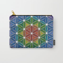 Rainbow Happy Flower of Life Carry-All Pouch