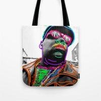 biggie Tote Bags featuring Biggie by Kibwe Maono