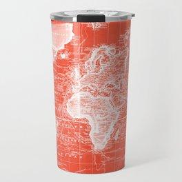 Vintage Map of The World (1833) Red & White Travel Mug