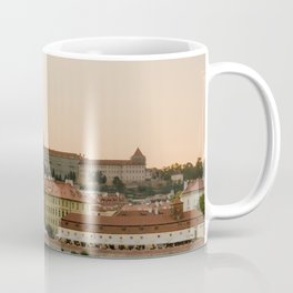 Prague Castle and Vltava river at sunset Coffee Mug