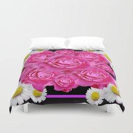 Black Pink on Pink Roses Purple Fuchsia & Daisy Flowers Art Design Duvet Cover