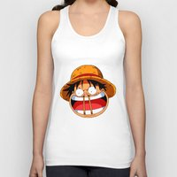 luffy Tank Tops featuring Luffy & Nose Sticks! by Orfik