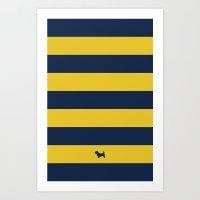 Preppy & Classy, Navy Blue / Gold Striped Two Art Print