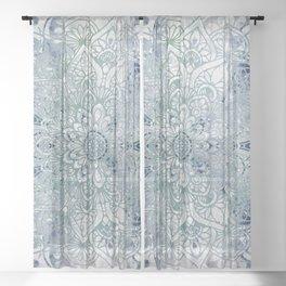 Yoga, Mandala, Green and Blue, Wall Art Boho Sheer Curtain
