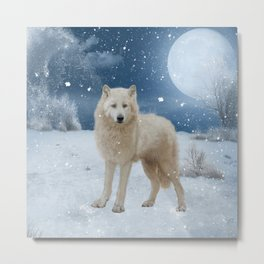 Awesome arctic wolf in the night Metal Print