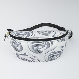 rose pattern texture abstract background in black and white Fanny Pack