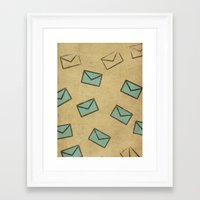 letter Framed Art Prints featuring Letter by sinonelineman