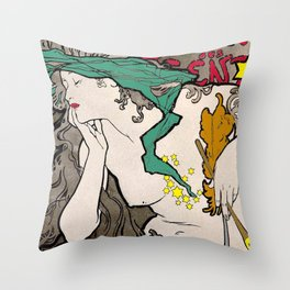 Vintage Alphonse Mucha Poster Girl Throw Pillow
