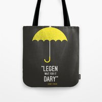 himym Tote Bags featuring ''legen  wait for it  dary'' barney Stinson by :: Fan art ::
