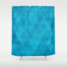 Gentle light blue triangles in the intersection and overlay. Shower Curtain