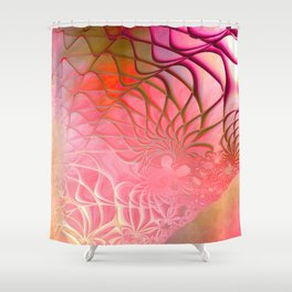 Web of the Universe (coral and magenta) Shower Curtain