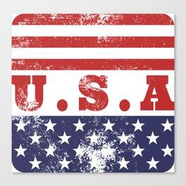 USA Patriotic Rubber Stamp Icon Canvas Print