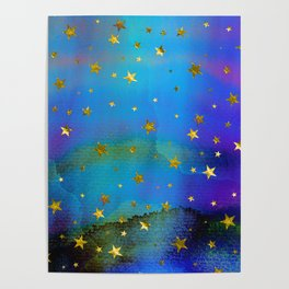 Twinkle on blue Poster