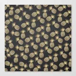 Modern chalk black elegant faux gold pineapple pattern Canvas Print