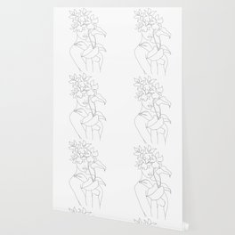 Minimal Line Art Woman with Flowers V Wallpaper