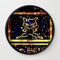 mew Wall Clocks featuring ancient mew by HiddenStash Art