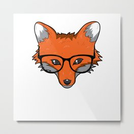 Smart Fox With Glasses Fox Lover Gift Metal Print