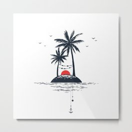 Beach. Palms. Sunset and Anchor. Geometric Style Metal Print