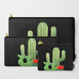 Perfect Cactus Bunch on Black Carry-All Pouch