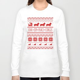 Love, Joy, Peace, Corgis | Humorous Dogs Christmas Pattern Long Sleeve T-shirt