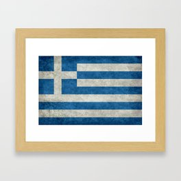 Flag of Greece, vintage retro style Framed Art Print