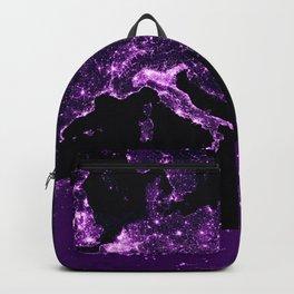 Earth Night Lit Up : Purple Backpack